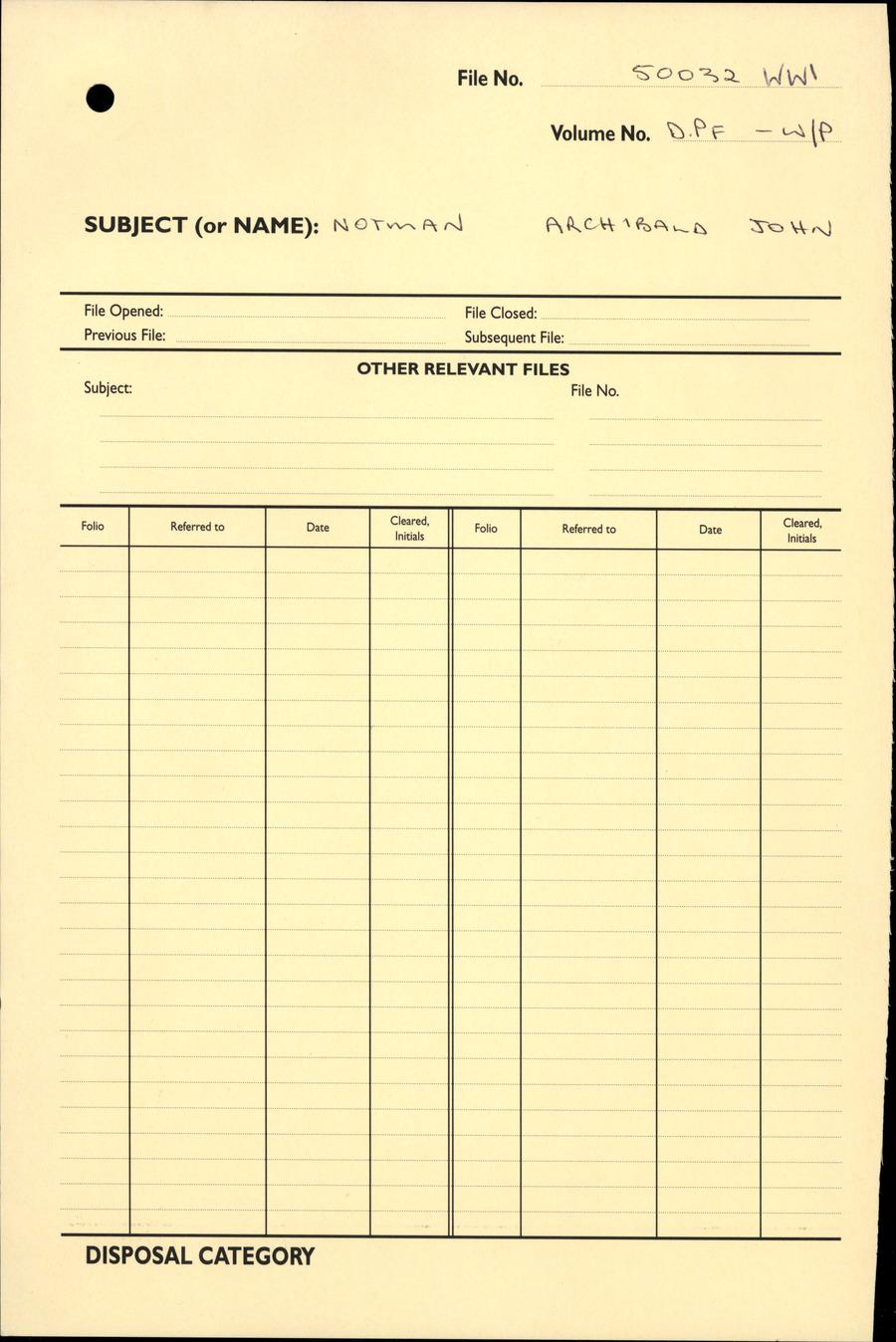 NOTMAN, Archibald John - WW1 50032 - DPF [Duplicate Personnel File]