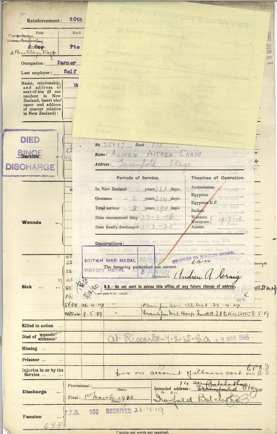 CRAIG, Andrew Aitken - WW1 35007 - Army