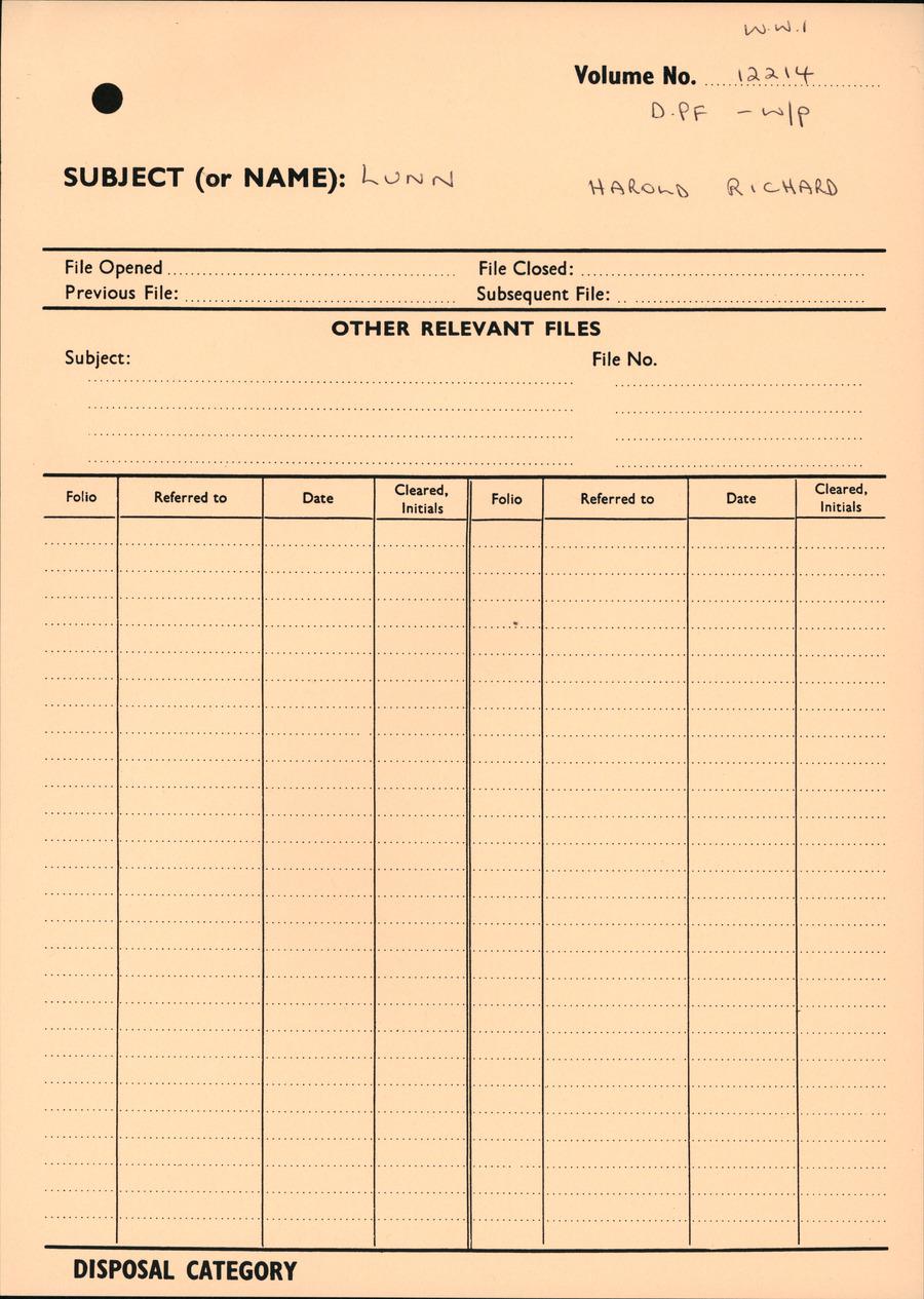 LUNN, Harold Richard - WW1 12214 - DPF [Duplicate Personnel File]