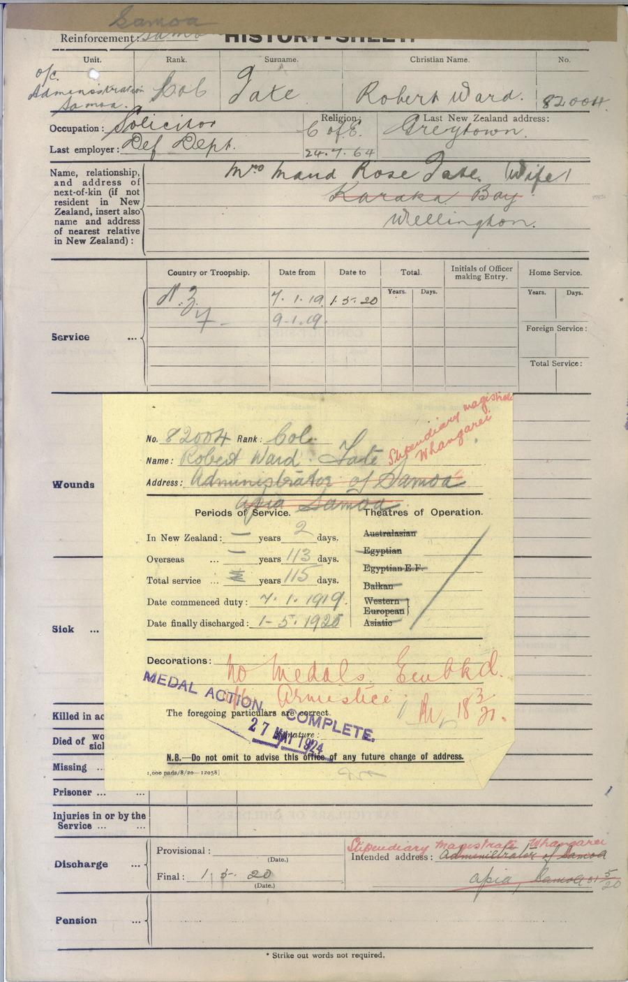TATE, Robert Ward - WW1 82004 - Army