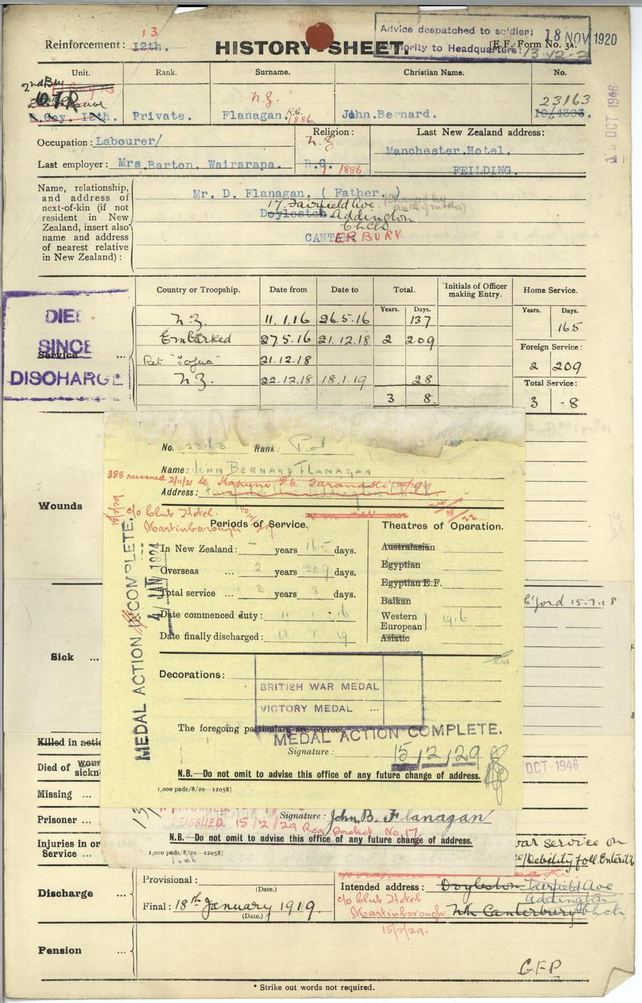 FLANAGAN, John Bernard - WW1 23163 - Army