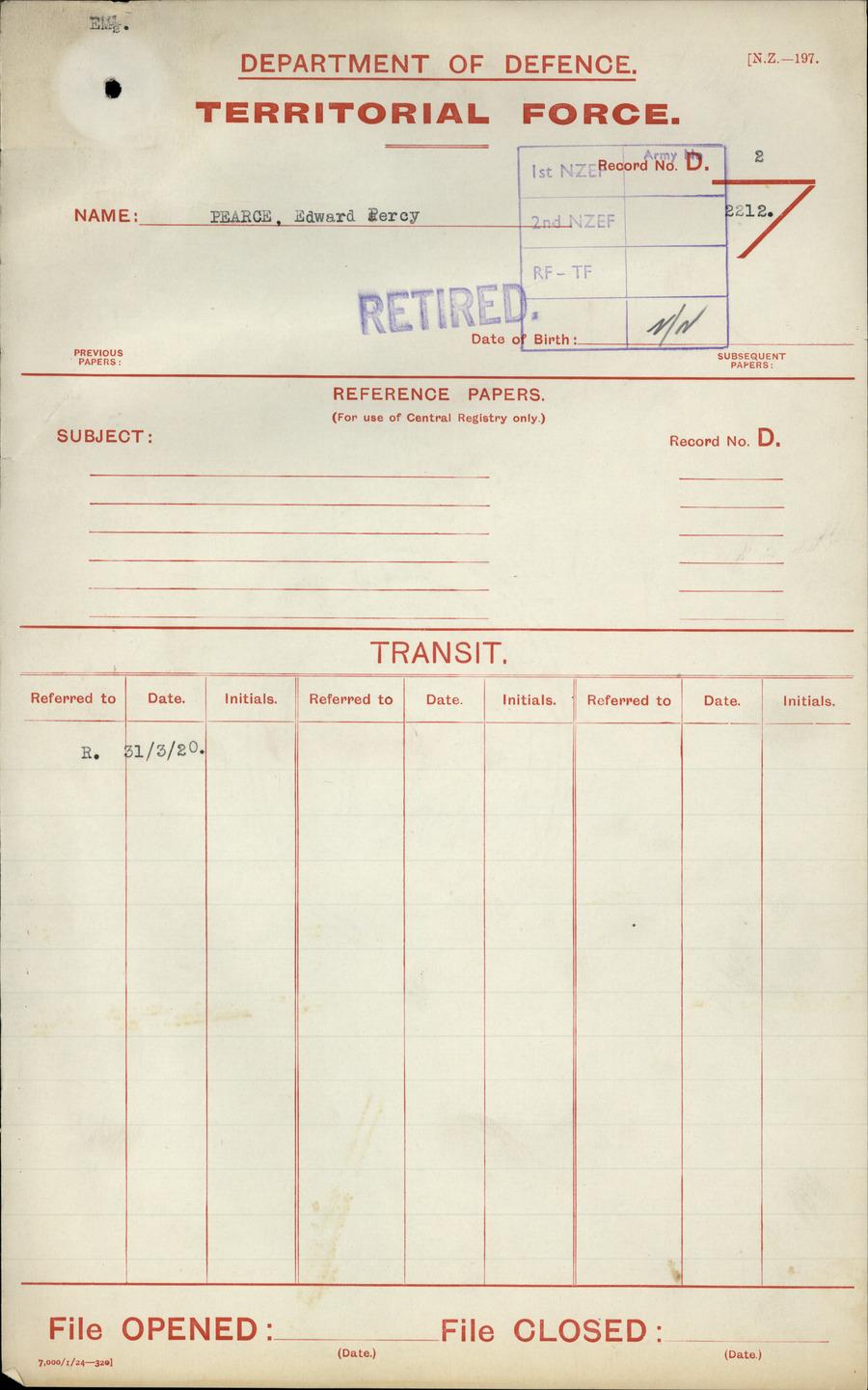 PEARCE, Edward Percy - WW1 N/N - Army [Original Paper Personnel File]