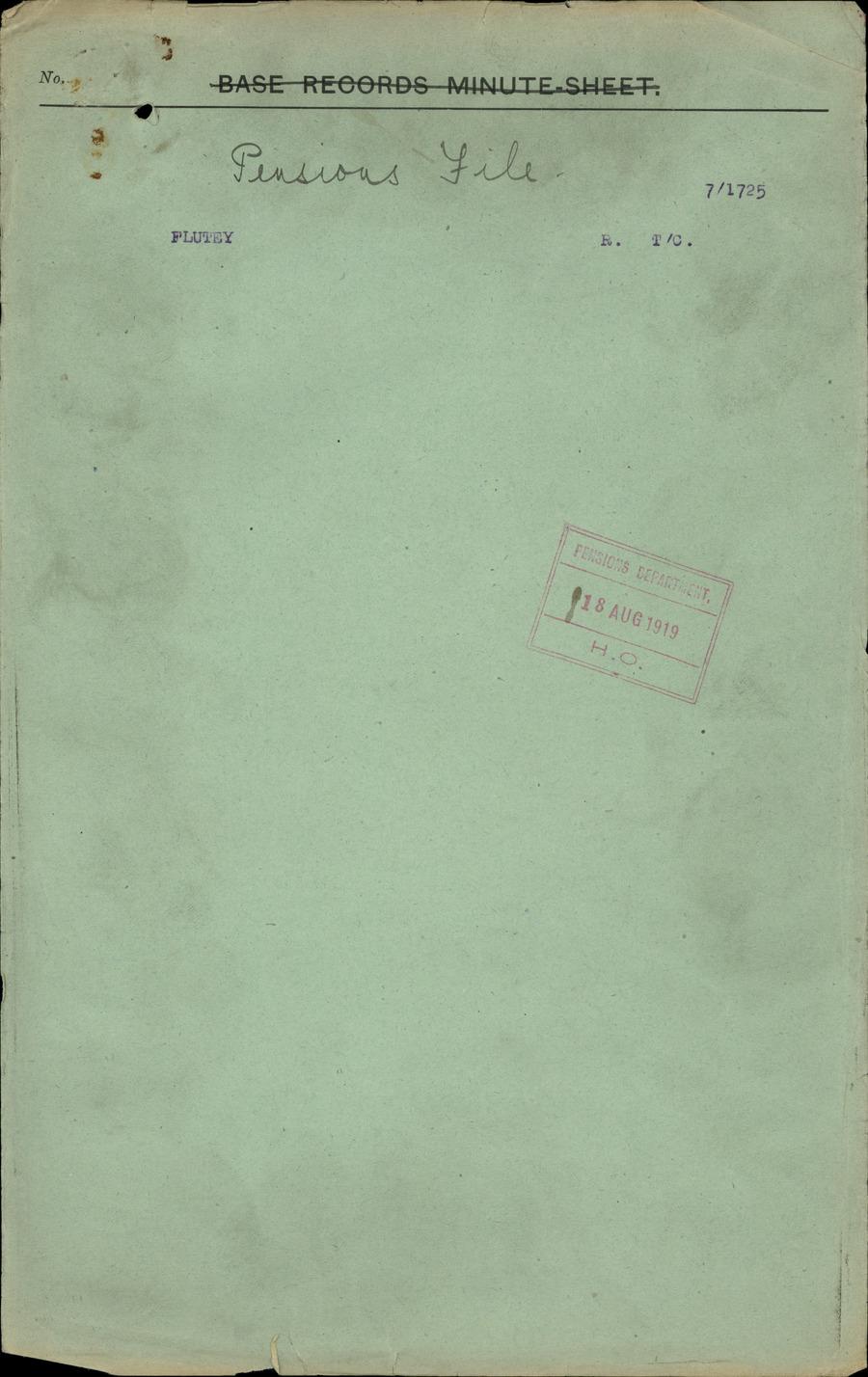 FLUTEY, Robert - WW1 7/1725 - DPF [Duplicate Personnel File]