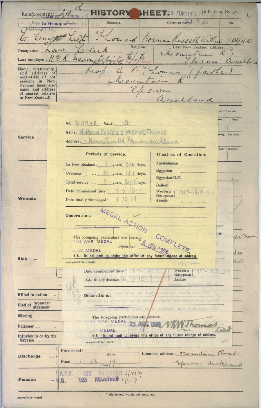 THOMAS, Norman Russell Withiel - WW1 20940 - Army