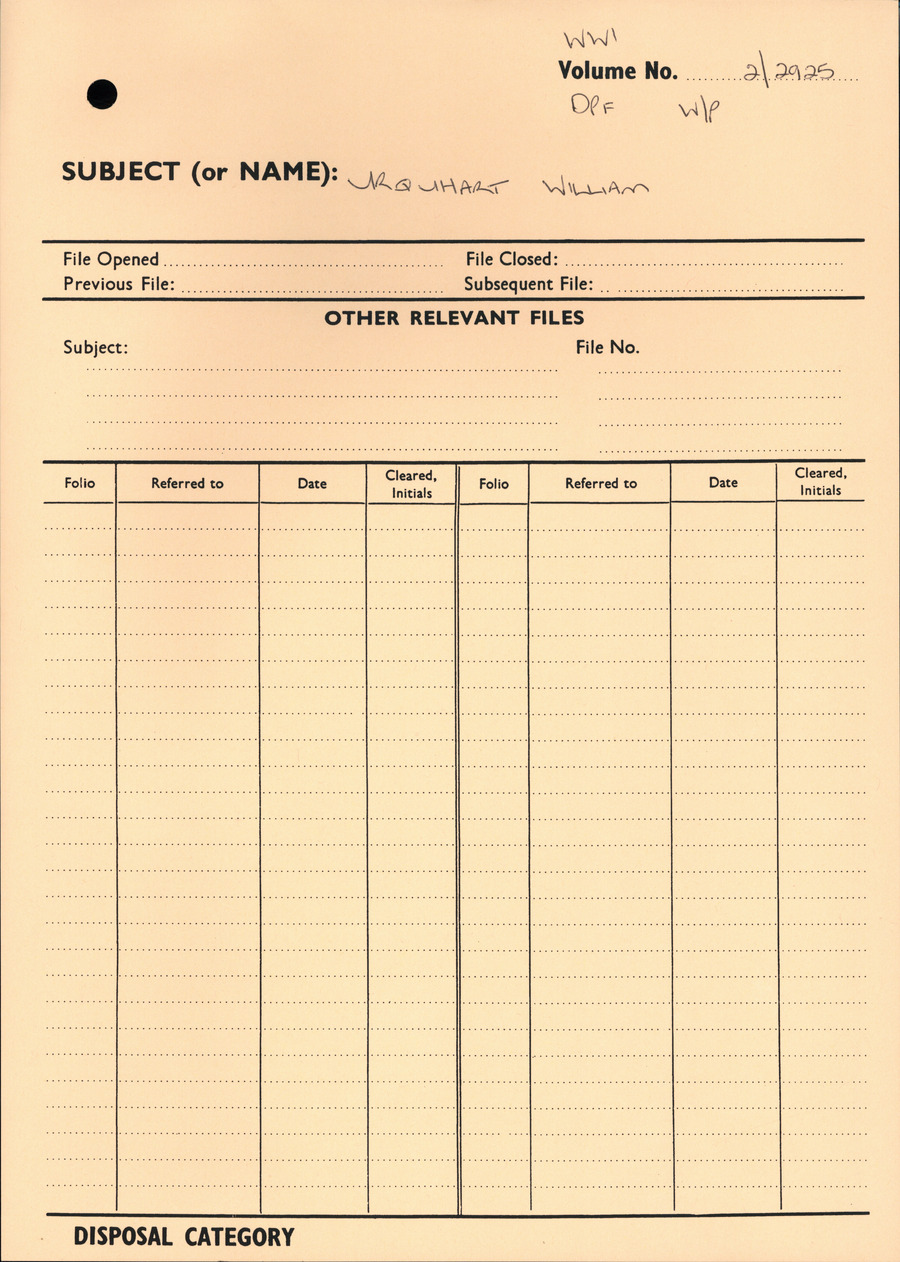 URQUHART, William - WW1 2/2925 - DPF [Duplicate Personnel File]