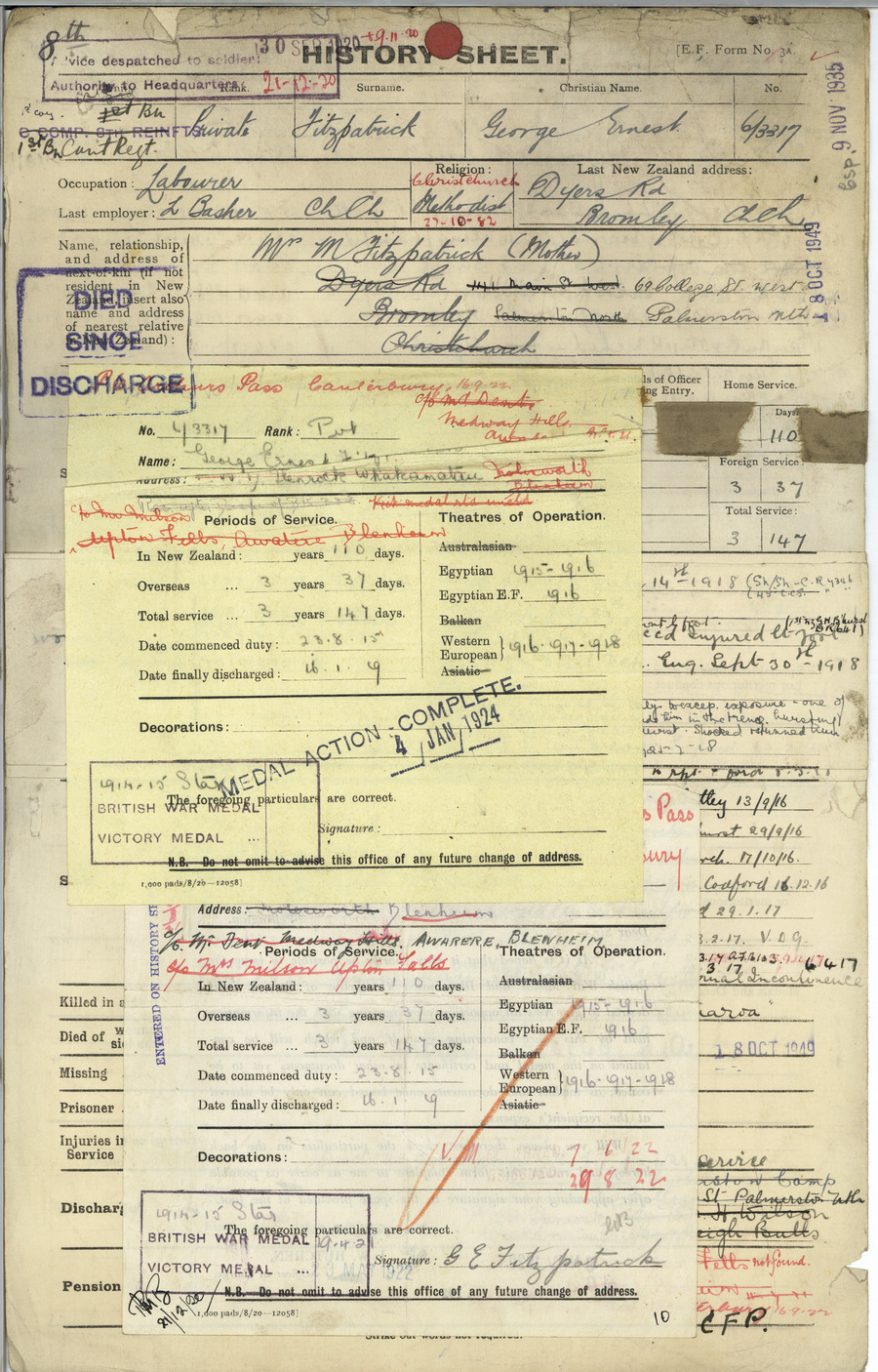 FITZPATRICK, George Ernest - WW1 6/3317 - Army