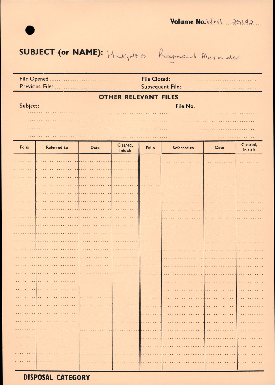 HUGHES, Raymond Alexander - WW1 25142 - Army [Original Paper Personnel File]