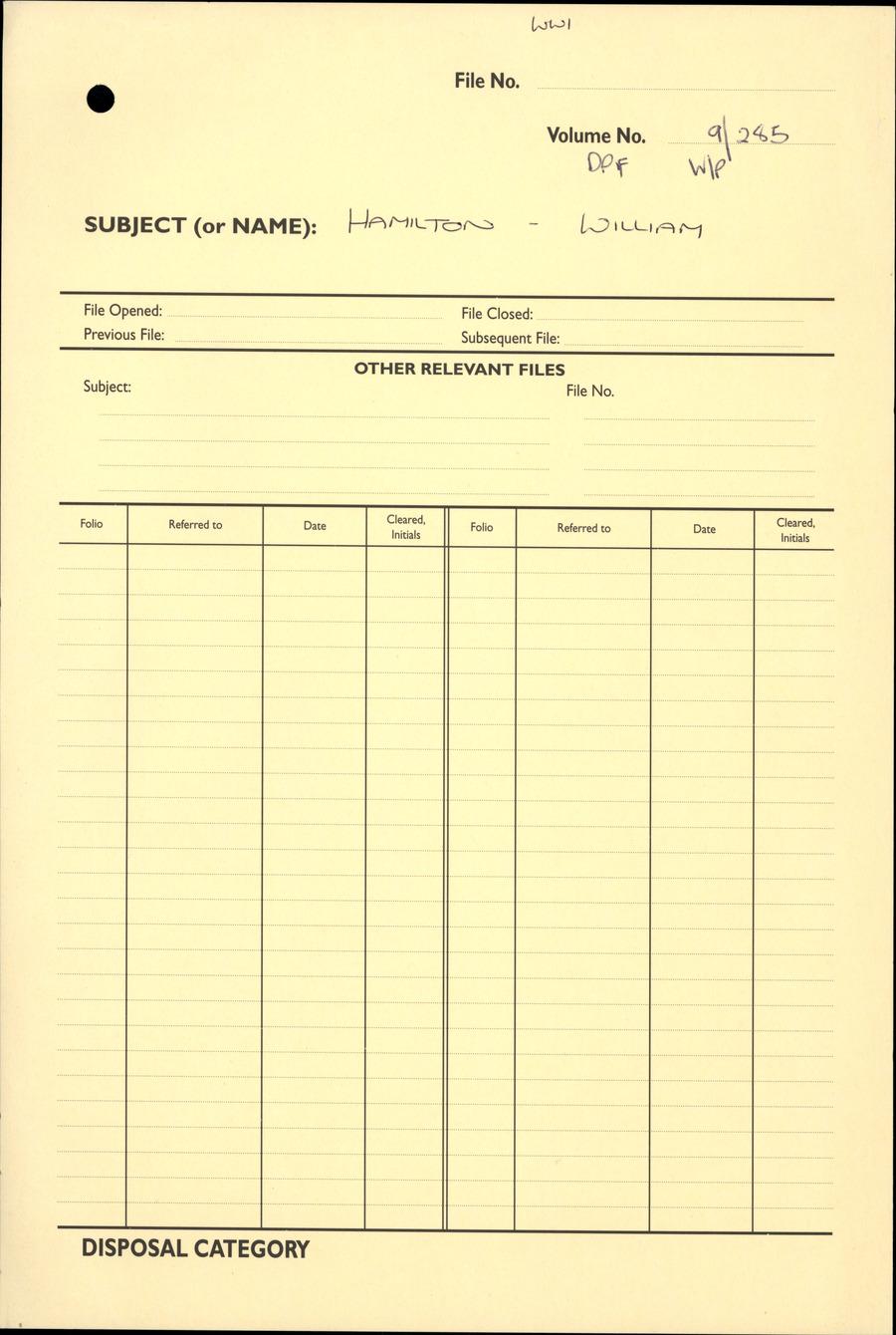 HAMILTON, William - WW1 9/285 - DPF [Duplicate Personnel File]