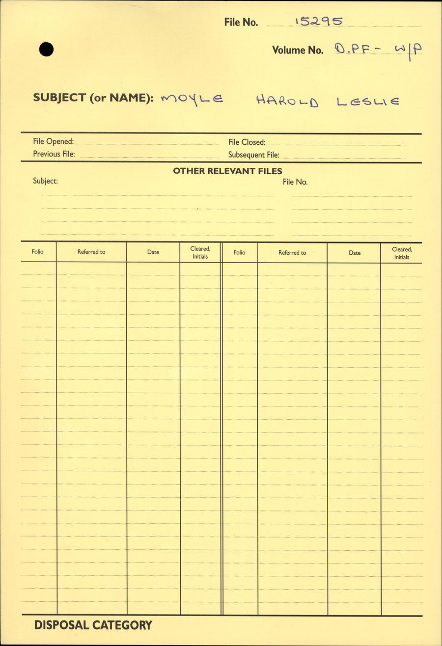 MOYLE, Harold Leslie - WW1 15295 - DPF [Duplicate Personnel File]