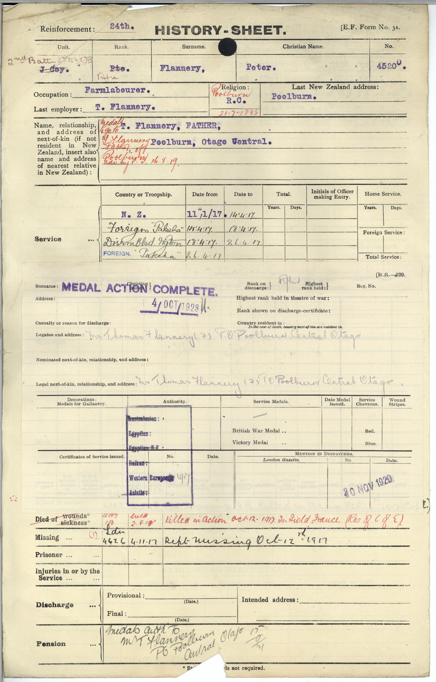 FLANNERY, Peter - WW1 45200 - Army