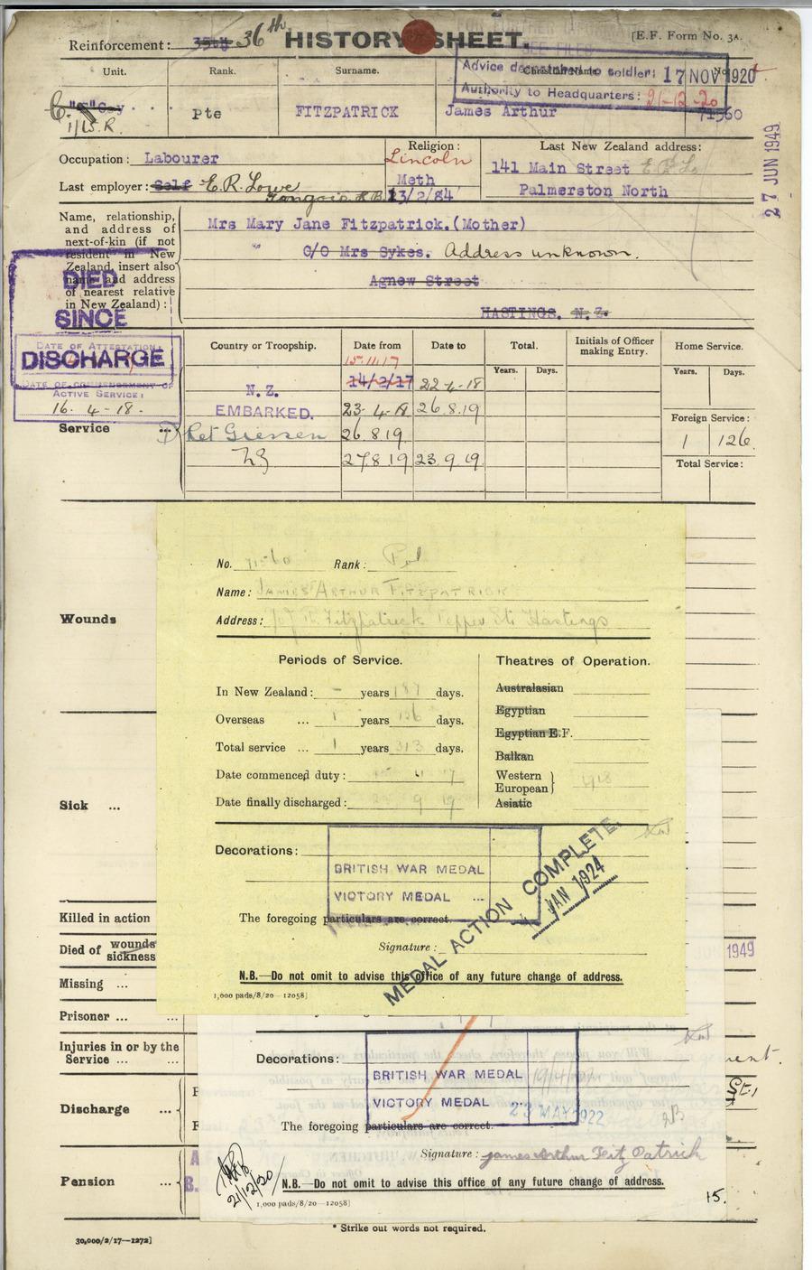FITZPATRICK, James Arthur - WW1 71560 - Army