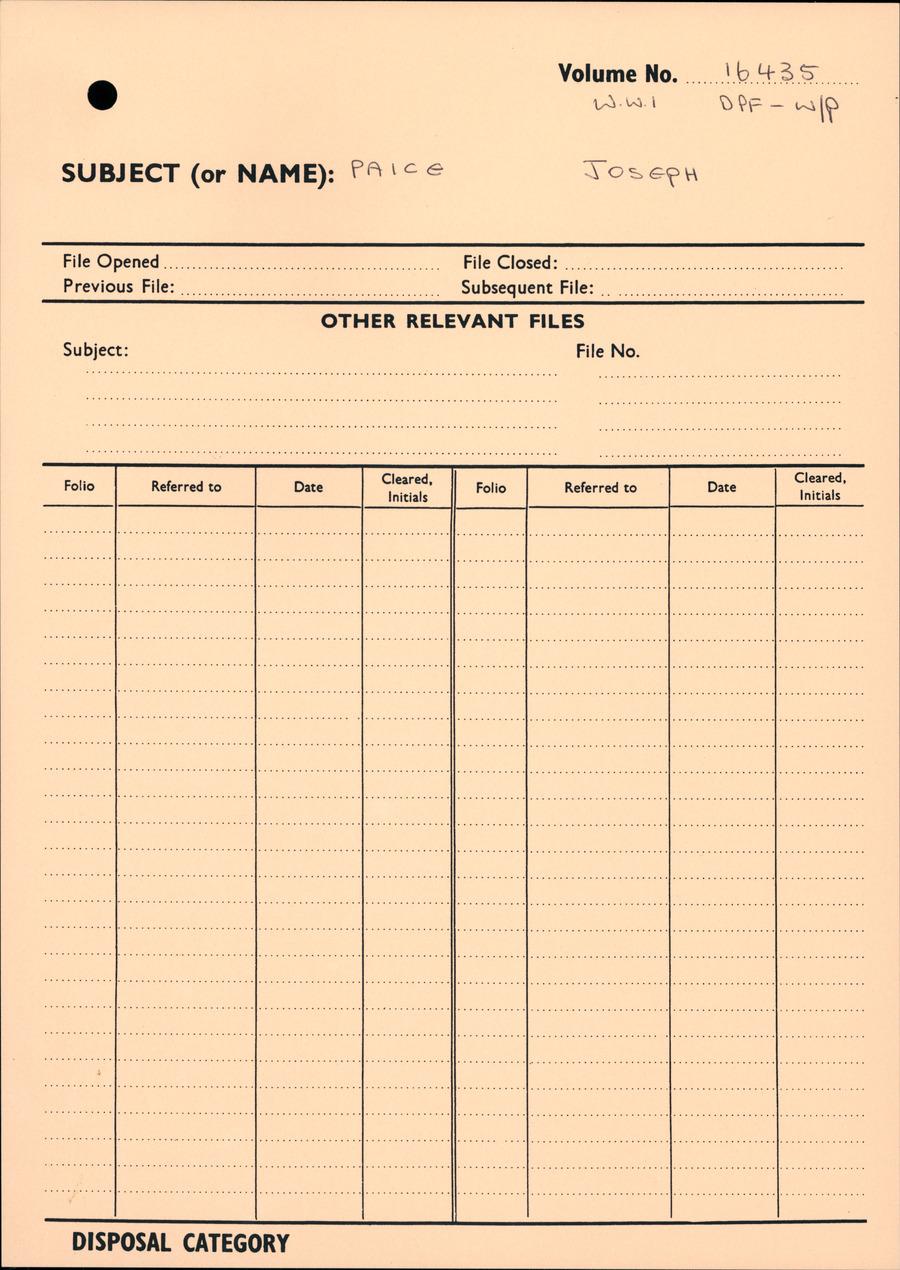 PAICE, Joseph - WW1 16435 - DPF [Duplicate Personnel File]