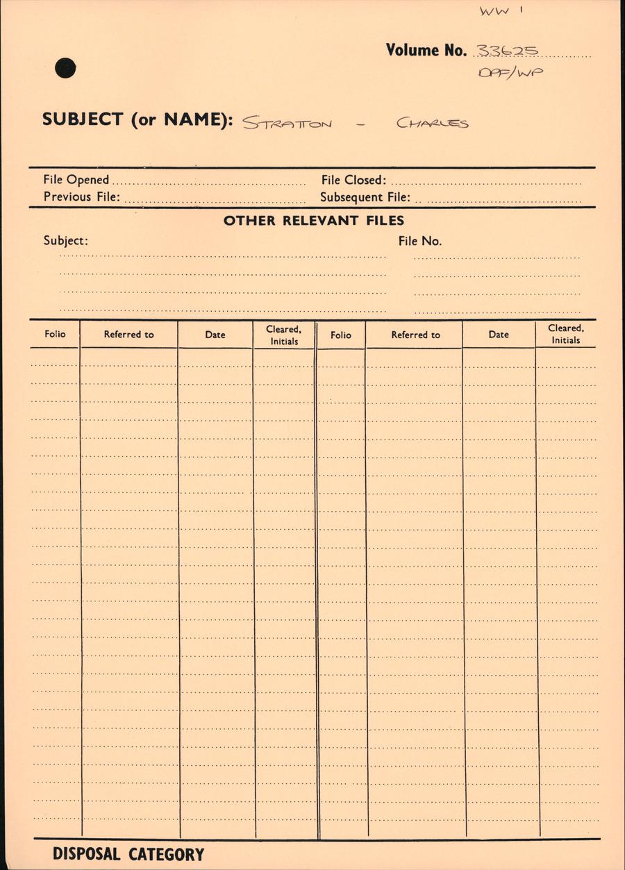 STRATTON, Charles - WW1 33625 - DPF [Duplicate Personnel File]
