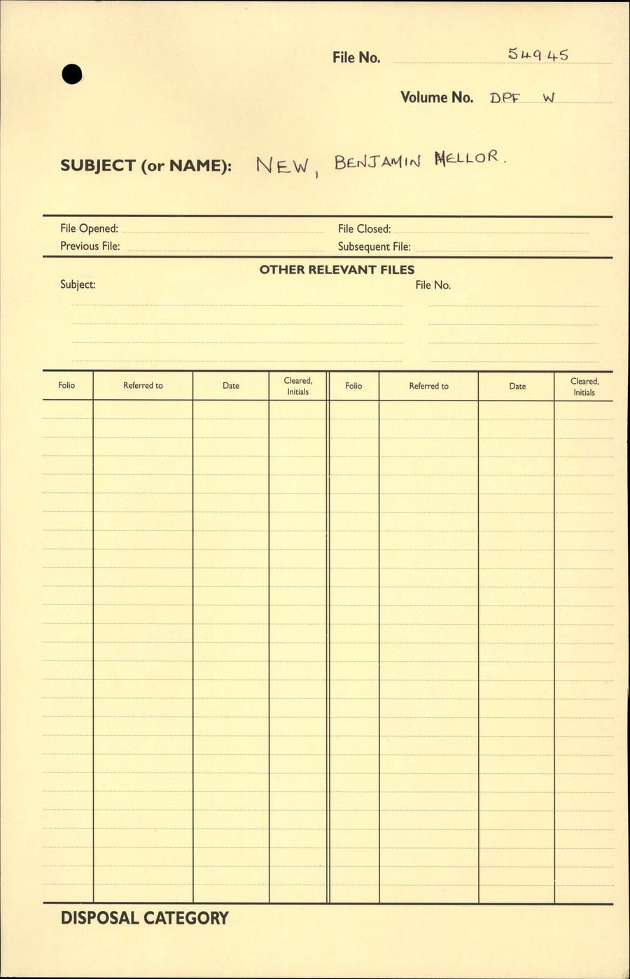 NEW, Benjamin Mellor - WW1 54945 - DPF [Duplicate Personnel File]