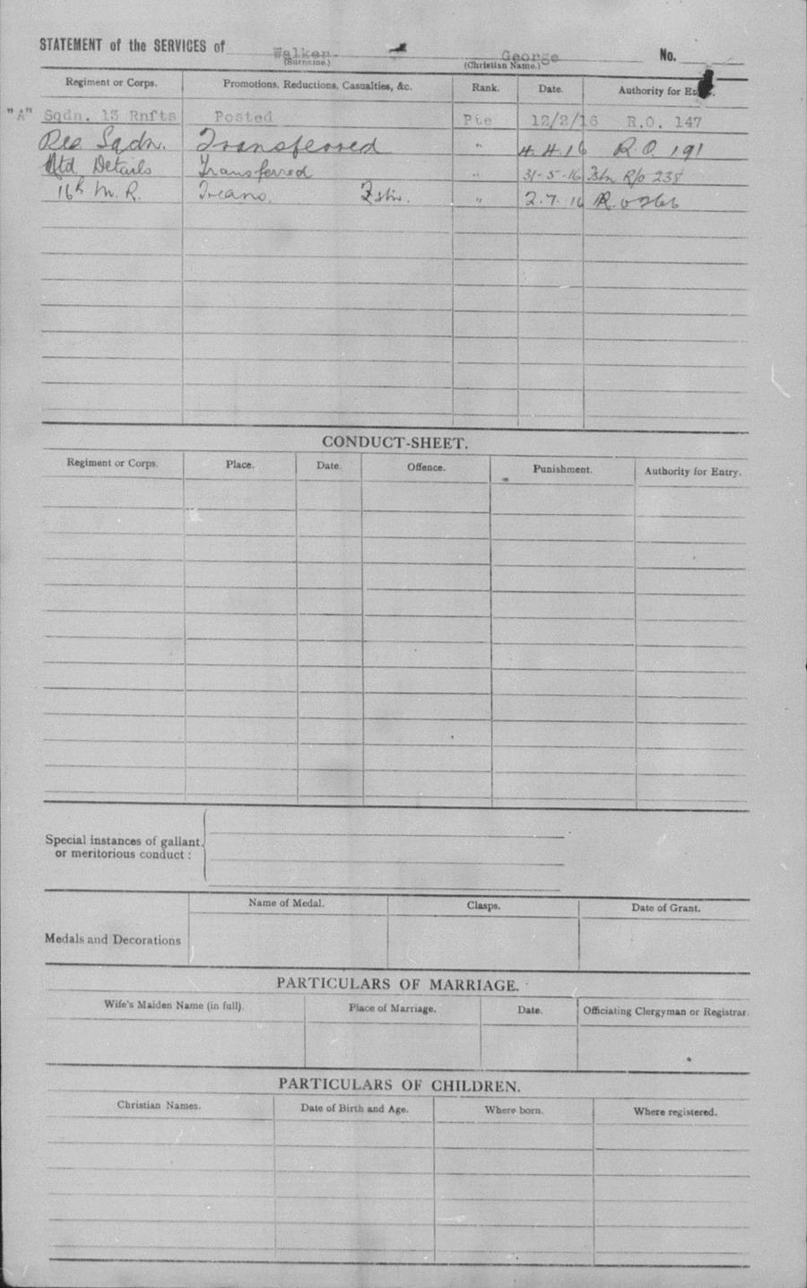 WALKER, George - WW1 35866 - Army