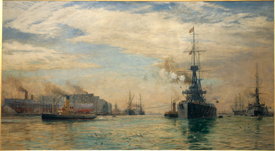 """'Tower House', Portsmouth [HMS """"New Zealand"""" fitting out]"""