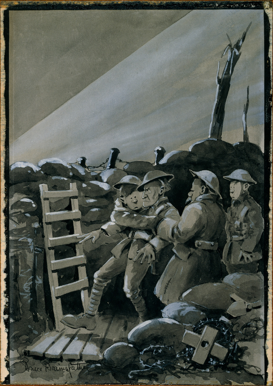 [Cartoon of soldiers, The searchlight]