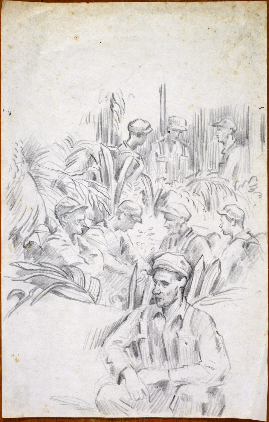 [Eight soldiers in jungle resting]