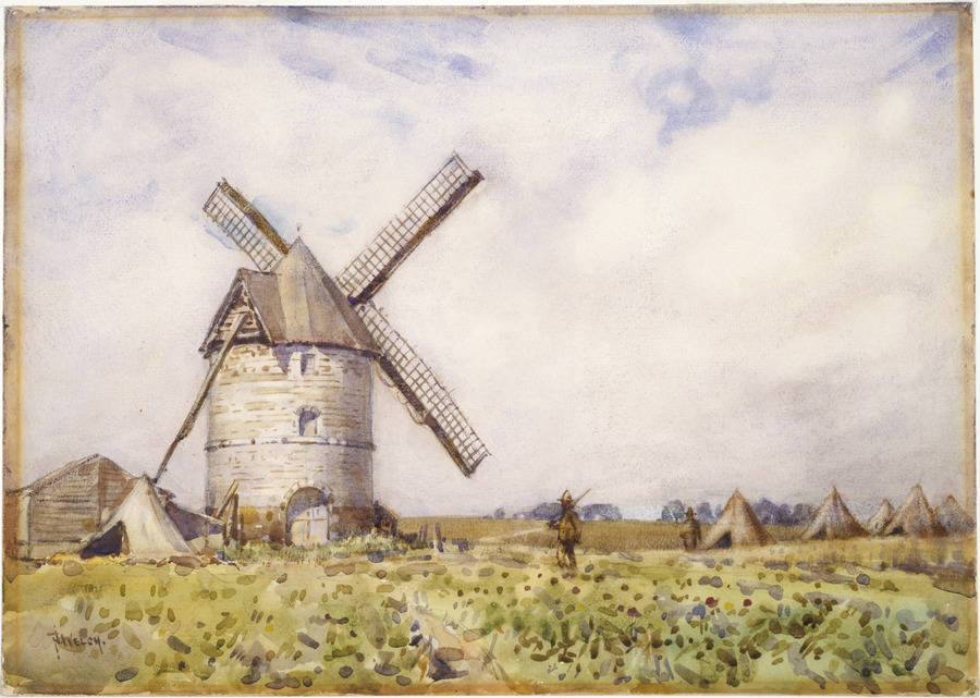 Windmill used as signal station, Louvencourt, France,  June 1918
