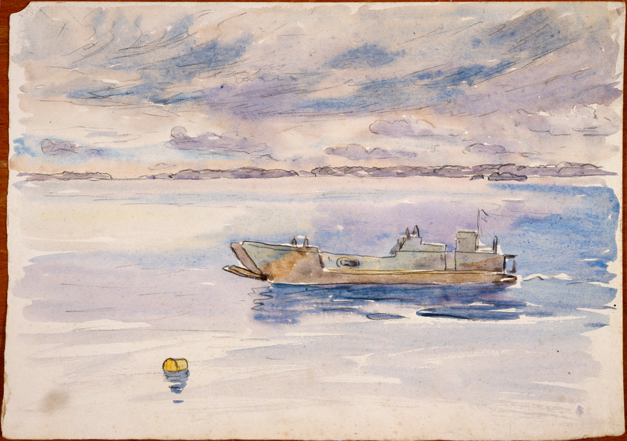 [Seascape with landing craft]
