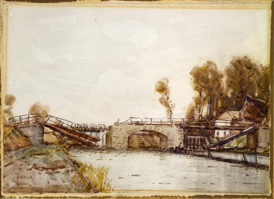 Bridge Canal de L' Escaut, Crevecoeur, was destroyed by the Germans temporary bridge erected by NZ Engineers
