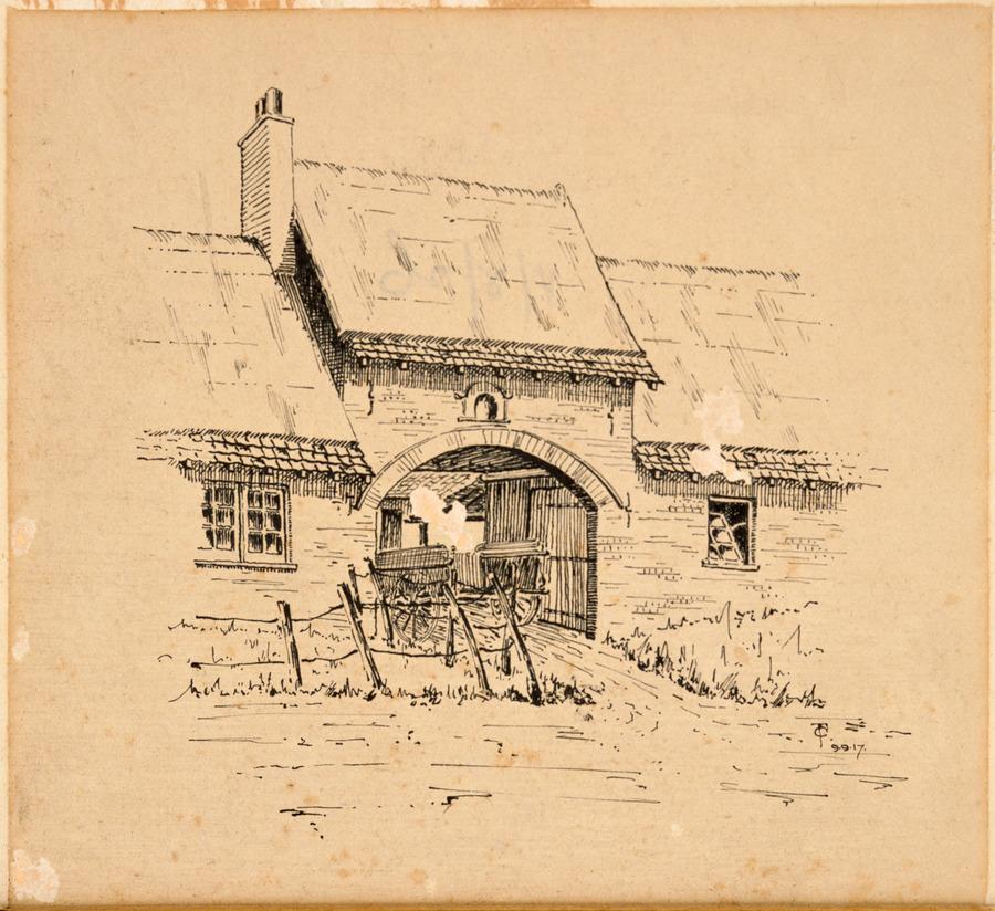 Doorway into court of farmhouse, L'Estrade, France, 27 November 1917