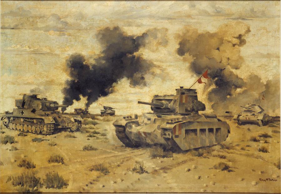 Tank battle on Belhamed, 13 March 1942