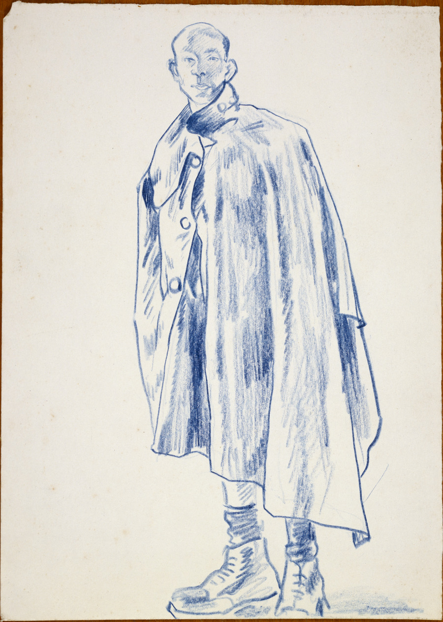 [Soldier in waterproof cape]