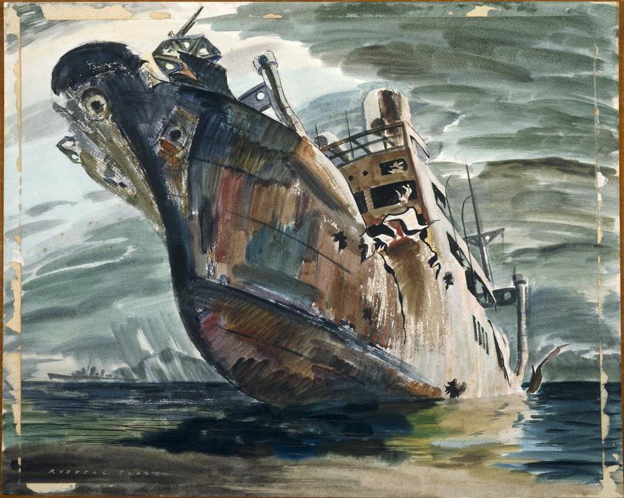Japanese transport beached, Guadalcanal