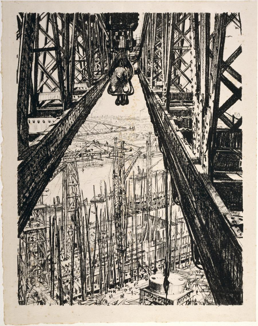 Shipyard scene from a big crane