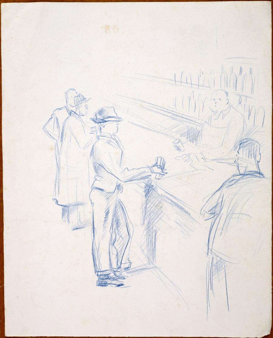[Cartoon men in a bar]