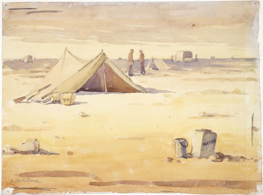 [Tents, equipment soldiers in the desert]