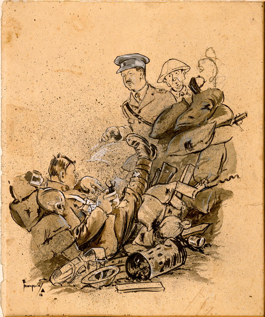 "Cartoon - Officer: ""Hullo anybody hurt there?"" - Victim:  ""Nobody hurt sorr, but look what the ---s 'ave done to my stew"""