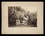 Photograph of a Maori woman seated on the ground w...