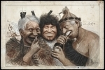 Lloyd, Trevor 1863-1937 :[Scenes of Maori life. 1910s? A drunken threesome] The proceeds of the first land deal.