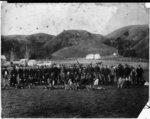 Armed constabulary and children, Gisborne, 1868. I...