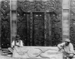 Shows Maori carvers Anaha Te Rahui and Tene Waiter...