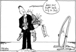 Cartoon shows David Cunliffe standing side-on in f...