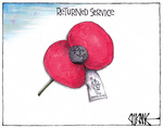 Cartoon depicts an Anzac Day 'RSA' red poppy with ...