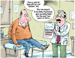 Cartoon shows a doctor explaining to a man that hi...