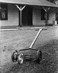 A push lawn mower.  Quantity: 1 b&w original negat...