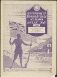 Pike, Bertram Edgar, 1890-1972 :Ceremony of remembrance at dawn, ANZAC Day 1940. The Citizens' War Memorial, Wellington / B E Pike [19]39. [Programme cover].