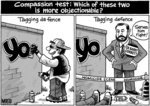 The text offers a 'compassion test' asking which o...