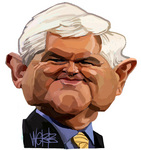 Caricature of Newt Gingrich, currently preferred A...