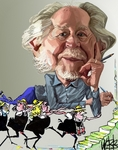 Caricature of Ronald Searle, British artist and sa...